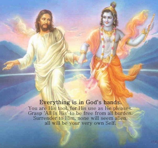 Krishna and Jesus holding hands